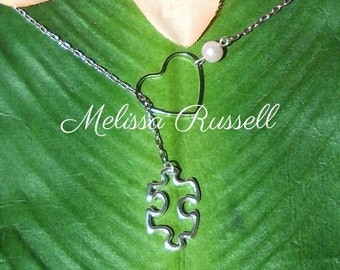 Silver Puzzle Piece & Heart Necklace , Autism Awareness, handmade jewelry, holiday, Christmas gifts, Valentines Day, birthday, mom, sale