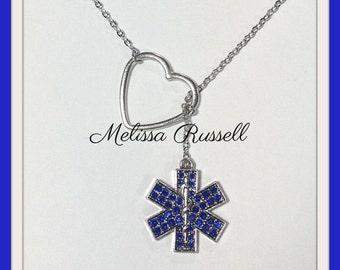 SALE - EMT, EMS, Paramedic  Lariat Necklace w/ Rhinestones & Heart, handmade jewelry, pendant, graduation, birthday gift, Christmas, mom