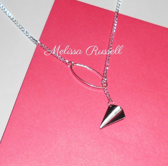 Paper Airplane through Geometric Oval Silver Lariat Necklace, handmade jewelry