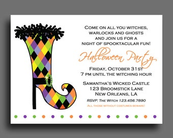 Halloween Invitation Printable or Printed with FREE SHIPPING - ANY Wording - Witch Chic Invitation