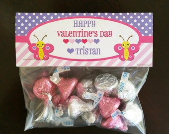 Personalized Valentine Butterfly Tent Style Bag Topper, Treat Tags, or Labels - ANY Size