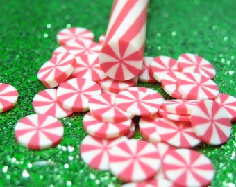 holiday polymer clay cane peppermint candy kawaii Christmas uncut 1pc for miniature sweets decoden and nail art supplies