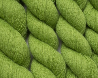 Lace Weight Recycled Cashmere Yarn, Bright Spring Green Recycled Lace Weight Cashmere Yarn, 1486 Yards Available