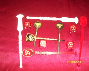 Vintage 7 Casino, Hotel and Airlines Stir Sticks and 4 Dice Landmark Frontier and more