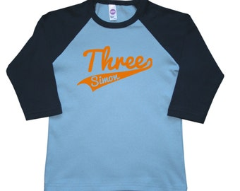 Personalized Sports Jersey swoosh birthday number shirt - any age and name - pick your colors!