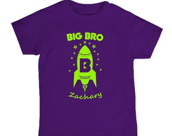Big Brother Rocket Outer Space Shirt - any name Personalized - pick your colors!