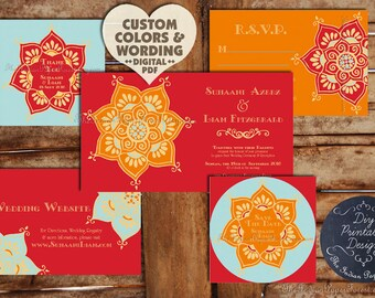 Indian Wedding Invitation Set Suite LOTUS FLOWER Card Design Printable Asian Nepali Thai Hindu Muslim Sikh Jain Gujarati Rajput Punjabi 2017