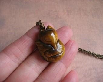 Fox Necklace  - Natural Tiger Eye Fox Pendant on Antique Bronze Chain - Gemstone Fox Jewelry, Unisex