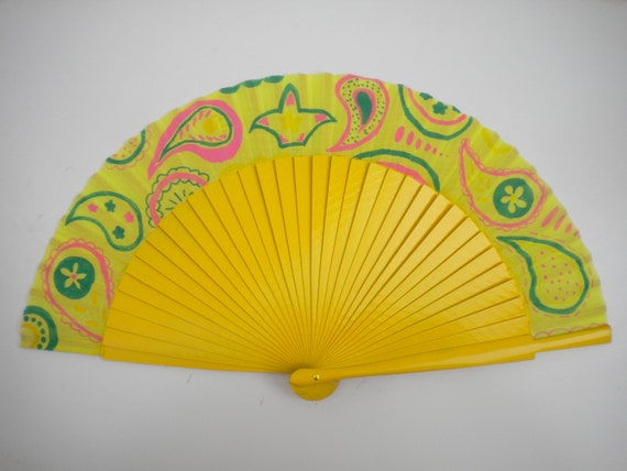 MTO Hand Fan Wood and Fabric Yellow Hippie Fun by Kate Dengra Spain