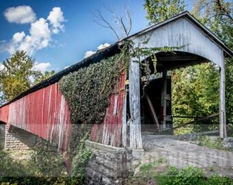 Shieldstown Covered Bridge Print, Shieldstown Covered Bridge Photograph, Jackson County Indiana, Wall Decor, Covered Bridge Print