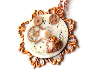 "Victorian Steampunk Necklace ""Copper Heart"""