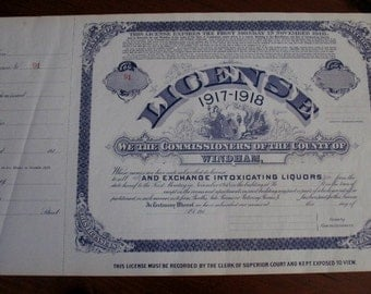 Vintage Bar License Whiskey Liquor Alcohol State of Connecticut 1917-1918 Windham County 22x14 Rare