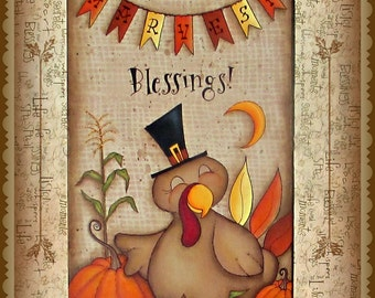 E PATTERN - Harvest Blessings - Sweet Turkey Celebrating the Harvest! Designed and Painted by Sharon Bond - FAAP