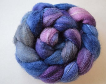 Hand Dyed Blue Faced Leicester andTussah Silk Fiber 100g/3.5 oz