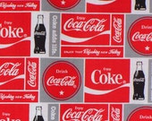 Coca Cola Fabric, Coca Cola Bottles,  Coca Cola Logos, Block Style, Its the Real Thing, By the Yard, Cotton Fabric