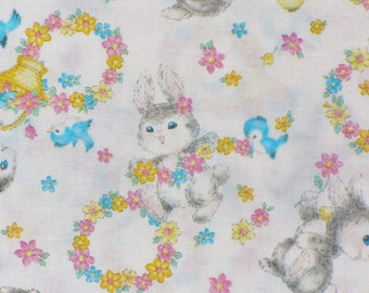 Dear Little World Fabric, Rabbits and Birds,  Vintage style, Rabbits and Friends, Wreaths, Natural Background, Japanese Fabric, By the Yard