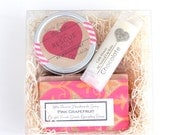 Valentines Day Medium Spa Gift Set / Soap Lip balm and bath salt gift / spa gift for her bath and beauty Gift Ideas For Her beauty box