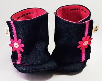 Denim Boots, Daisy Baby Boots, Baby Booties, Baby Boots - from 0 - 18 Months