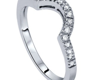 Contour Ring Diamond Cruved Notched Wedding Ring 14K White Gold, Weding Ring, Diamond Curved Ring, Wedding Band, Diamond Band, Curved