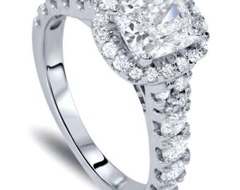 2.00CT Cushion Diamond Halo Engagement Ring 14K White Gold - Size 4-9