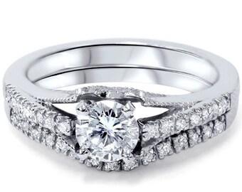 Diamond 1.00CT Vintage Engagement Ring Set 950 Platinum