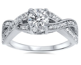 Diamond Engagement Ring 1.00CT Diamond Infinity Twist Engagement & Matching Wedding Ring Set 14K White Gold - Size 4-9