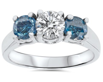 1.75CT Blue Diamond 3 Stone Engagement Ring 14K White Gold