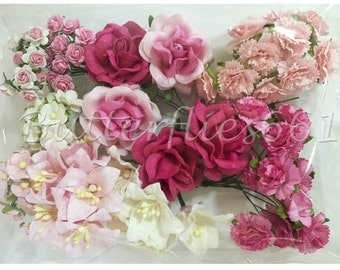 75 Mixed Sizes of  Pink Handmade Mulberry Paper Flowers