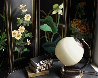 Vintage Art Deco Chinoiserie Painted Lacquered Screen. Free local shipping