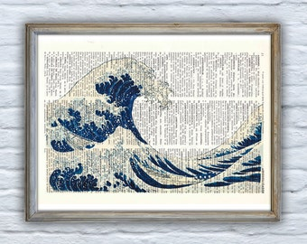 Summer Sale Japanese wave print, art print on Dictionary Page, wall art home decor. Sealife wave print, Ocean life SEA001