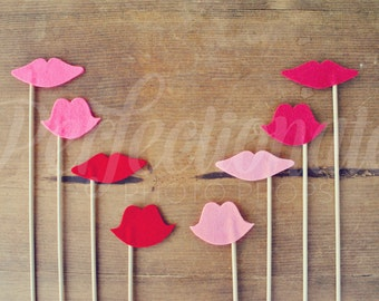 8 Felt Lip Props | Lip Photo-Booth Props | Bachelorette Photo-Booth Props | Gender Reveal Props
