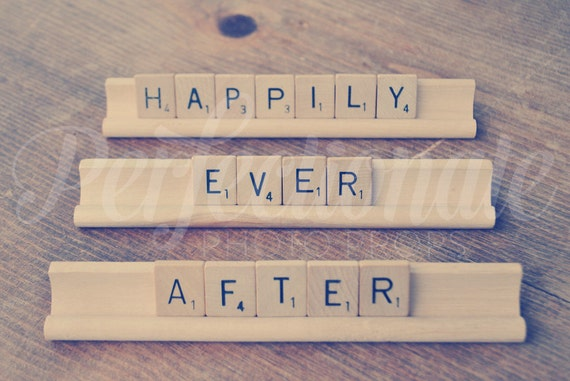 Happily Ever After Sign | Vintage Scrabble Pieces | Newlywed Sign | Scrabble Sign | Fairy tale theme Wedding | Bride and Groom Photo Prop