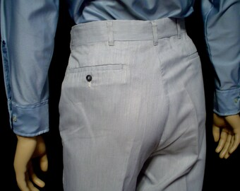"""70s 35"""" x 30"""" Haggar Polyester Cotton Mens Flares Bell Bottom PANTS Pearl Gray"""