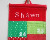 READY to SHIP/Personalized Christmas Advent Calendar/  in Red and Green Dots/ Christmas Countdown Calendar with Pockets