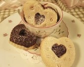 Heart Butter Sugar Cookies-Cocoa with Raspberry Jam for Everyone, Mother-1 doz-Wedding Favors-Showers-Thank You-Gift for Her-Engagement