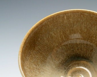Handmade Stoneware Ceramic Serving Bowl in Burnt Umber and Light Brown/Ceramics and Pottery