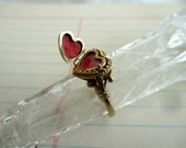 SALE ---- unique 14K heart ring with hidden compartment - frames, gold, engagement, one of a kind, size 7