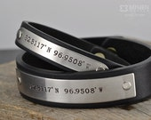 Two ( 2 ) Custom Coordinates Bracelets - Personalized Leather Bracelets, great husband or Boyfriend gift - Hand Crafted in USA