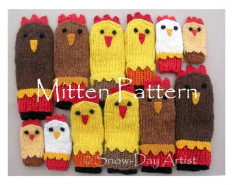 Chicken Mitten Pattern, Instant download, Knit Chicken Mittens for the whole gang!