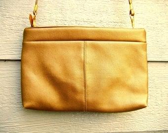 Vintage 70s Metallic Gold 'Bags By Warren Reed' Faux Leather Cross-Body Bag