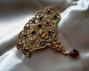 1928 Jewelry Amber Fan Brooch, Rhinestone Dangle  Jewelry