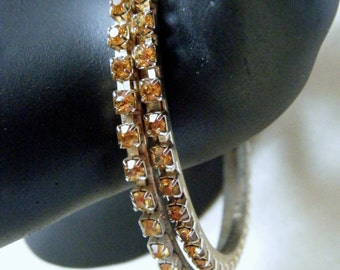 Amber Rhinestone Bangle Bracelets