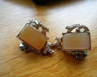Coro Butterscotch Thermoset Clip Earrings