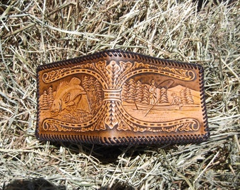 Men's Leather Wallet With Fishing Scenes
