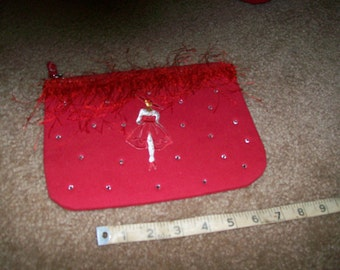 Red Clutch Purse With Red Fringe Trim, High Fashion Figure  Applique,  and Clear Rhinestone  Trim