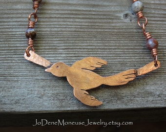 Copper bird necklace,one of a kind,rustic,nature, handmade beaded chain, hand fabricated artisan metalsmith jewelry