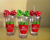 Personalized Teacher Tumbler - Teacher Appreciation - Back To School - Teacher Valentine Gift - Apple Tumbler - School Staff Gift