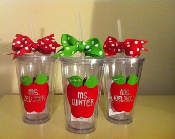 Personalized Teacher Tumbler - Teacher Appreciation - Back To School - Teacher Valentine Gift - Apple Tumbler - School Staff Gift