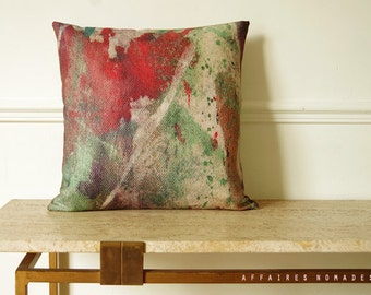 "Japanese inspired throw pillow. Abstract art printing linen  18"" Square cushion cover.  Coral orange & boho green .. Carpe koi / FRAGMENTS"