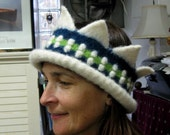One of a Kind Jewel Tone Blue, Green and Winter White Adult Crown Hat Headband